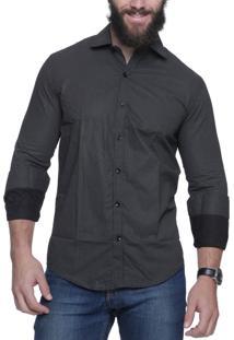 Camisa Alfaiataria Burguesia Poá Preta Com Bolinhas Brancas