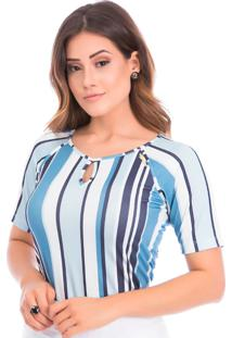Blusa Listrada Com Leve Abertura No Decote Via Tolentino Branca/Azul