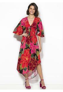 Vestido Cropped Chita Solar Vermelho
