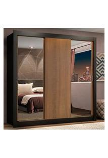 Guarda-Roupa Casal Madesa Lyon Plus 3 Portas De Correr Com Espelhos 4 Gavetas Preto