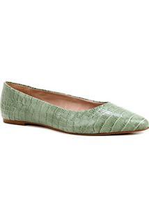 Sapatilha Couro Shoestock Croco Feminina - Feminino-Verde