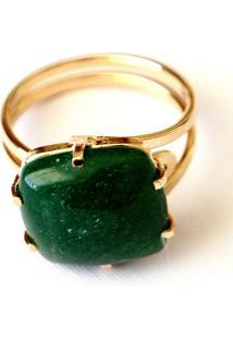Anel Ajustável Pedra Quadrada Quartzo Verde Twik