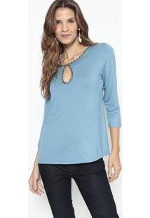 Blusa Com Pedrarias - Azul & Bege - Lanã§A Perfumelanã§A Perfume