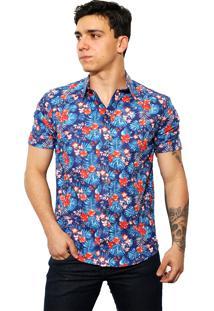 Camisa Slim Victor Deniro Florença Azul