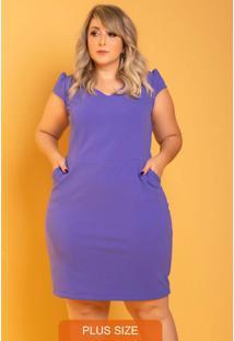 Vestido Tubinho Più Bella Plus Size Azul