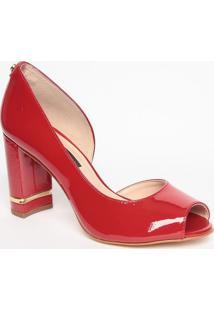 Peep Toe Em Couro - Vermelho & Dourado- Salto: 8,5Cmjorge Bischoff