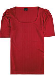 Blusa Vermelha Com Mangas Bufantes