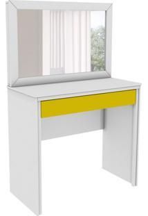 Penteadeira Twister Com Espelho 1 Gv Neve E Amarelo