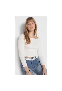 Blusa Cropped Forever 21 Texturizada Off-White