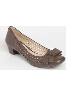 Sapato Tradicional Em Couro Com Microfuros- Marrom- Jorge Bischoff