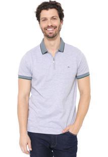 Camisa Polo Aramis Slim Zíper Cinza/Verde