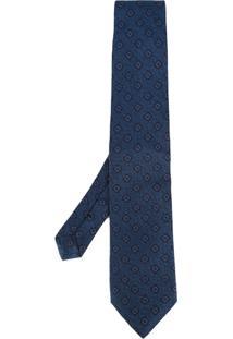 Etro Gravata De Seda Com Padronagem Floral - Azul