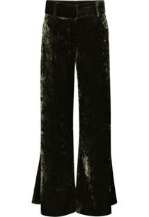 Frame Calça Pantalona Panne De Veludo - Verde