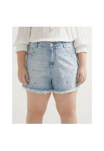 Short Boyfriend Jeans Com Tachas E Barra Desfiada Curve & Plus Size