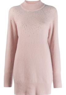 Blumarine Suéter Com Aplicações De Strass - Rosa
