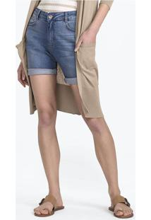 Bermuda Jeans Feminina Com Lavação Moderna
