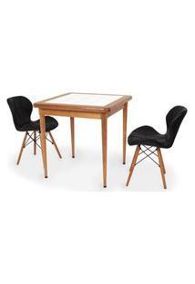 Conjunto Mesa De Jantar Em Madeira Imbuia Com Azulejo + 2 Cadeiras Slim - Preto