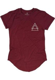 Camiseta Longline Stoned Triple Triangle Masculina - Masculino-Bordô