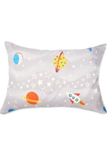 Fronha Kids Avulsa Microfibra Yoyo Kids Space Travel Cinza Space Travel Cinza