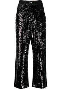 Golden Goose Calça Jeans Pantalona Com Recortes De Paetês - Preto