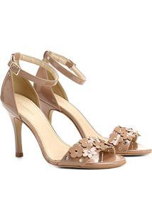 Sandália Shoestock Salto Fino Flores Feminina - Feminino-Nude