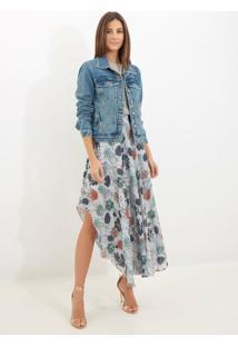 Jaqueta Le Lis Blanc Tachas Jeans Azul Feminina