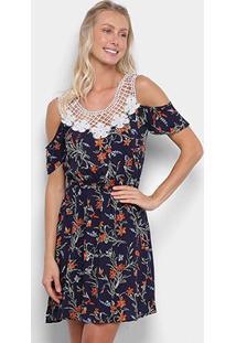 Vestido Heli Curto Guipir Floral - Feminino-Marinho+Laranja
