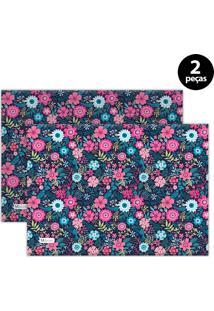 Jogo Americano Mdecore Floral 40X28 Cm Azul Marinho 2Pçs