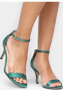 Sandália Shoestock Naked Cetim Festa - Feminino-Verde