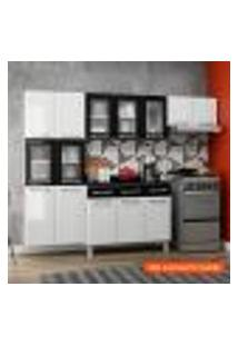 Cozinha Compacta Topázio Ii 11 Pt Branca E Preta