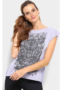 Camiseta Triton Estampada Feminina - Feminino-Lilás