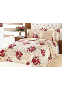 Edredom Murano King Vermelho Buque Flores Com 3 Peças - Aquarela