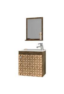 Conjunto P/ Banheiro Siena Madeira Rústica Bechara Marrom