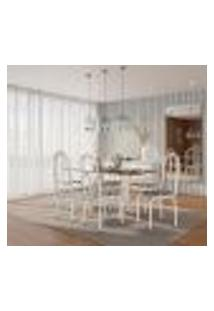 Conjunto De Mesa Com 6 Cadeiras Adriana Cinza E Estampa Capitonê