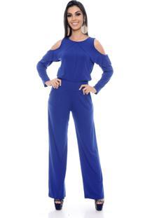 Macacão Pantalona B Bonnie Ombro Vazado Manga Longa Clara Azul Royal