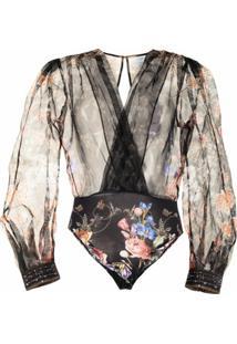 Camilla Body Semi-Translúcido Com Estampa Floral - Preto