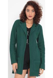 Casaqueto Alongado Texturizado- Verde Escuro- Malweemalwee