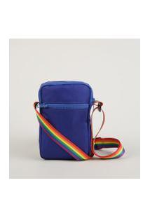 Bolsa Shoulder Bag Masculina Transversal Pequena Pride Com Bolso Azul