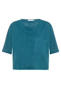 Camiseta Feminina Ampla De Linho Misto - Verde