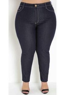 Calça Jeans Escura Cigarrete Plus Size Sawary