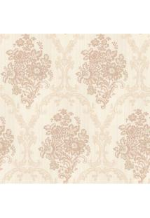 Papel De Parede Floral- Bege Claro & Rosa- 1000X52Cmshark Metais