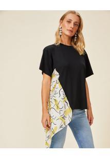 Amaro Feminino T-Shirt Assimétrica Lenço Lateral, Preto