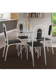 Conjunto De Mesa Com 4 Cadeiras Estrela Pintura Epoxi Branca