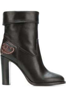 Etro Ankle Boot De Couro - Marrom