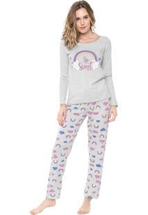 Pijama Malwee Liberta Arco-Íris Cinza