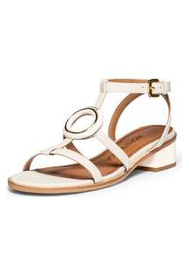Sandalia Salto Medio Enfeite Personalizado Off White