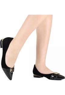 Sapato Scarpin Luz Da Lua Bico Fino Verniz Preto