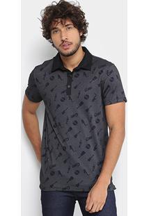 Camisa Polo Coca-Cola Piquet Estampada Masculina - Masculino-Preto