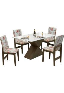 Conjunto De Mesa Com 4 Cadeiras Com Tampo Mdf Viena - Dobuê - Castanho / Off / Vermelho Floral