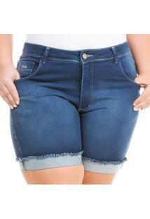 Shorts Confidencial Extra Plus Size Jeans Cintura Alta Feminino - Feminino